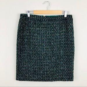 J. Crew The Pencil Skirt Green Tweed